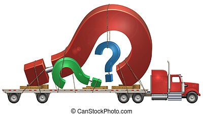 Question Mark - Illustration of a flatbed truck carrying...