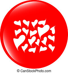 Valentine heart sign set, web button isolated on white