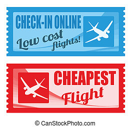 Cheapest flight and low cost coupons on white background,...