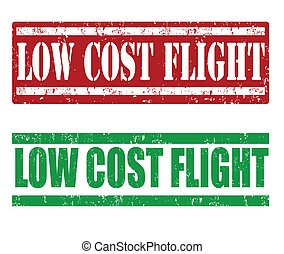Low cost flight stamps - Low cost flight grunge rubber...