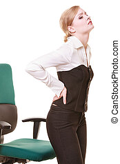 Businesswoman with backache back pain isolated - Business...