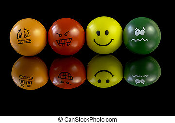 Stress balls that have personality - Happy sad and confused...