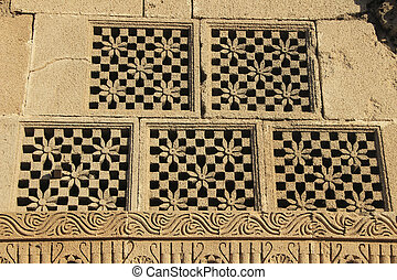 Carved Stone Window Panes - Five identical window panes...