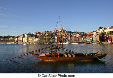 oporto - typical boat at oporto city on the north of...
