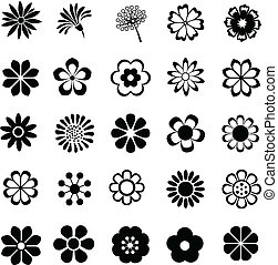 flower vector set, flowers icon