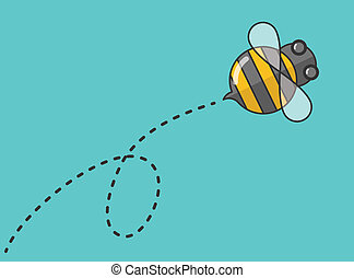 Bee - Flat design bee flying