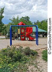 Playground equipment.