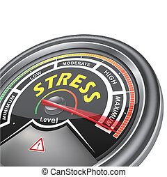 vector stress conceptual meter indicator isolated on white...