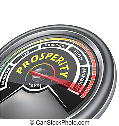 vetorial, prosperidade, Conceitual, medidor, indicador