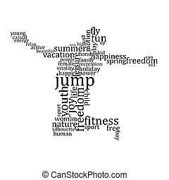 People silhouette made with words