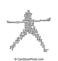 People silhouette made with words - Jumping people...