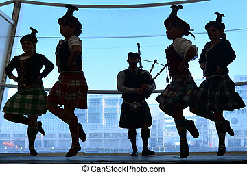 escocés, tierras altas, baile