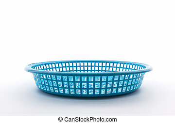 Blue plastic basket - Blue plastic basket on isolated white...