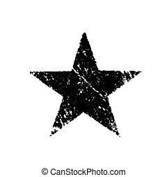 black star - black grunge star over white background...