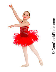 Ballet Dancer Child in Red Tutu