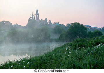 Sunrise in a small russian village - Early morning sunrise...