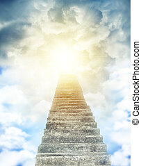 Stairway to heaven - Stairway leading up to bright light