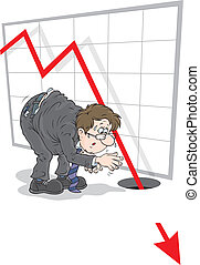 Recession - Businessman looking at the chart with fallen...