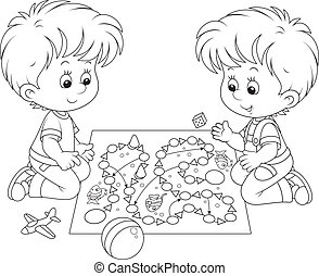 Boys playing - Children play with a board game on the floor