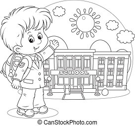 Schoolboy - Elementary school student with a schoolbag...