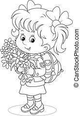 First grader - Little schoolgirl with a schoolbag and...