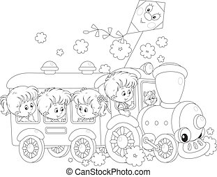 Children travel by train - Little girls and boys riding on a...