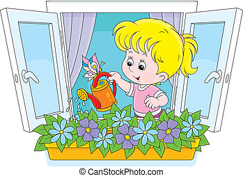 Girl watering flowers