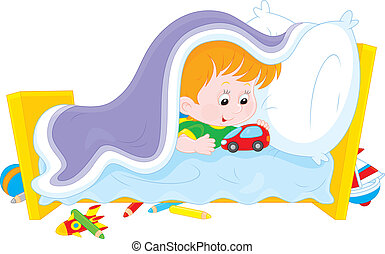 I do not want to sleep - Little boy playing with a toy car...
