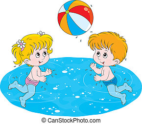 Children play a ball in water - Little girl and boy playing...