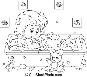 Girl bathing - Little girl playing with toys in a bath with...