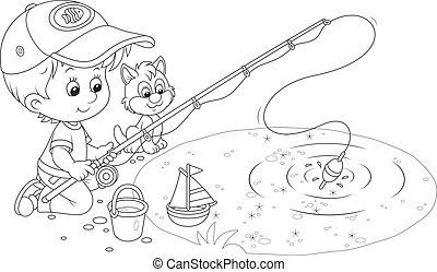 Little fisher - Boy and a small kitten fishing on a pond