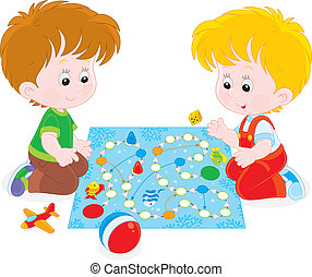 Boys playing with a boardgame - Children play with a board...