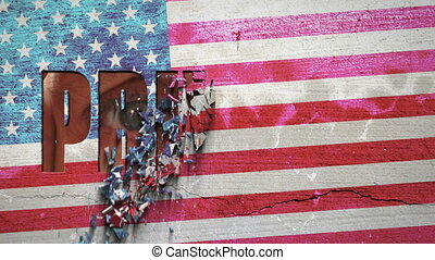 Spying Eyes Crumbling Wall USA - American flag painted on a...