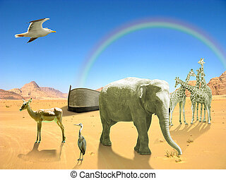 Arc of Noah with elephant, birds, giraffes in desert with...