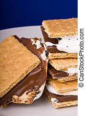 smores - warm freshly home made smores on a white plate