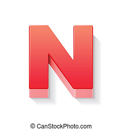 3d red letter N isolated white background