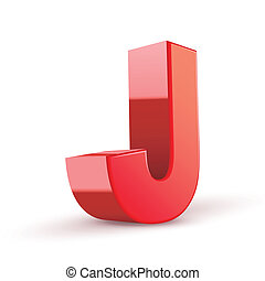 3d red letter J isolated white background