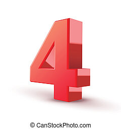 3d shiny red number 4 on white background