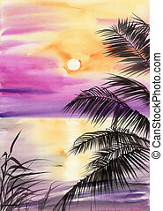 Palm beach sunset - Tropical sunset view with the seashore...