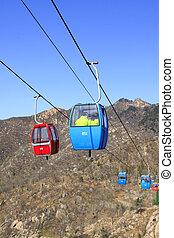 Aerial ropeway in Panshan Mountain scenic spot, ji county,...