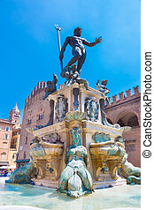 Fountain of Neptune, Bologna, Italy. - The Fountain of...