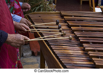 Marimba Players - Marimba players playing in Chiapas, Mexico