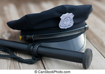 Police equipment Hat and truncheon