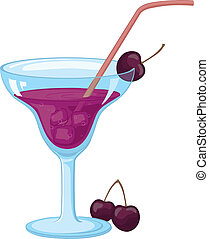 Glass with ice, drink and cherries - Blue transparent glass...