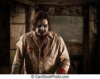 Walking dead - Photo of a hungry zombie covered with blood...