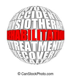 Rehabilitation - circle words on the ball on the topics