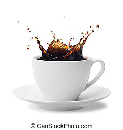 splashing coffee - cup of splashing coffee isolated on white