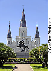 Saint Louis Cathedral in New Orleans, Louisiana. - View of...