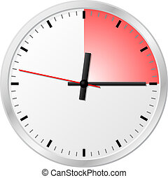 timer with 15 (fifteen) minutes - vector illustration of a...