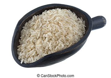 scoop of Jasmine white rice - aromatic, long grain, Jasmine...